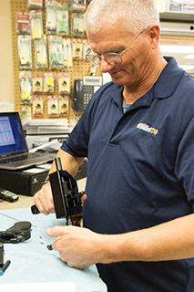 Gunsmith in Wichita working on firearm
